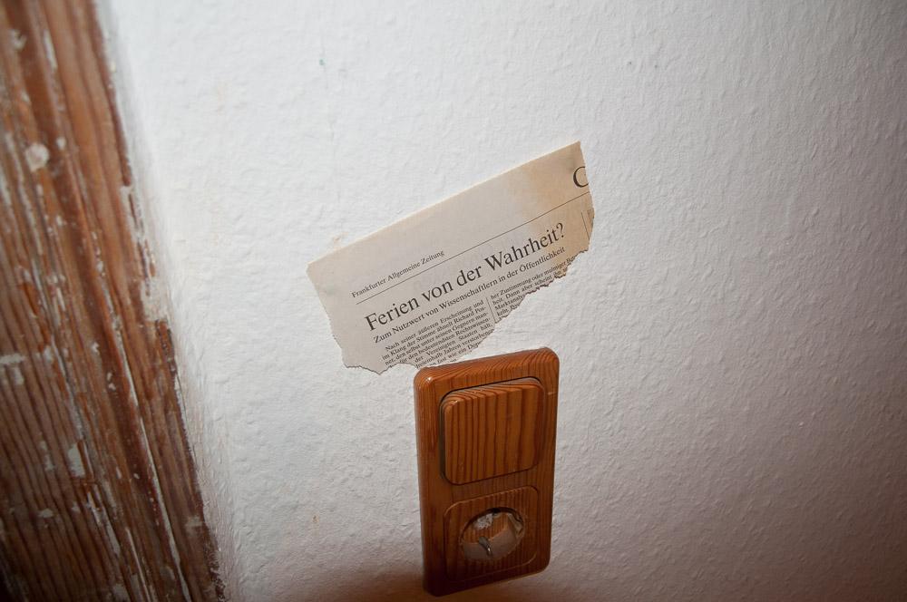 On/Off (eternal questions), Erkenntnisse am Lichtschalter, 2005-2010, installation detail